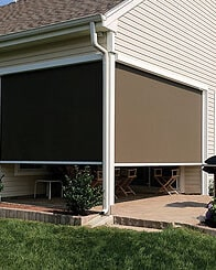 motorized roller shades in austin texas outdoor patio shades exterior zip screens outside yard sun shade walls garden