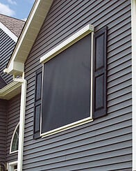 Motorized Roller Shades In Austin Texas Exterior Screens House Outside Front Yard Gray And Black Panels