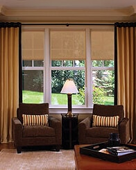austin texas motorized interior roller shades brown chairs curtains lamp living room backyard view carpeting large wide white windows coffee table