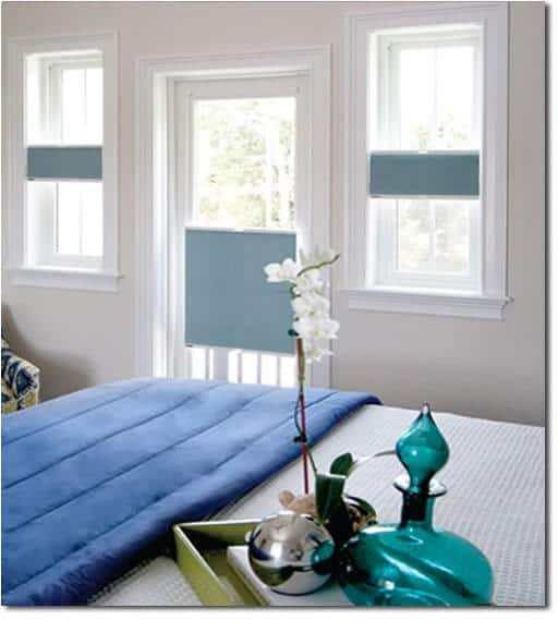 austin texas shades ultimate honeycomb shades by portrait blue and white window shades blue comforter vase white flower installed in bedroom bed