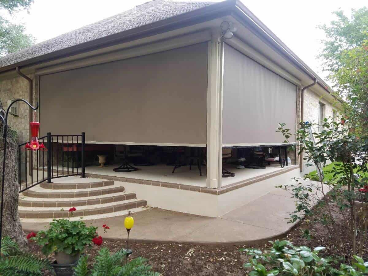 austin texas retractable outdoor patio zipper screens solar shades privacy and comfort floor to ceiling backyard garden outside furniture eclipse zip screens