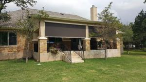 Motorized Shades by Shades of Texas  Austin Texas residential installation backyard garden