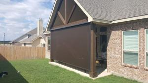 Motorized Shades by Shades of Texas  Austin Texas residential installation backyard patio